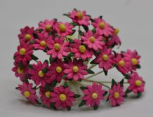 DEEP PINK SINGLE-LAYERED Miniature Daisy (XS) Mulberry Paper Flowers